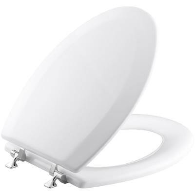 KOHLER Triko Molded Toilet Seat, Elongated, Closed-Front, Cover and Polished Chrome Hinge in White