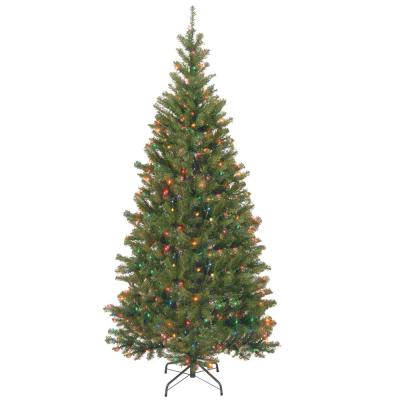 7 ft. Aspen Spruce Hinged Artificial Christmas Tree with 400 Multicolor