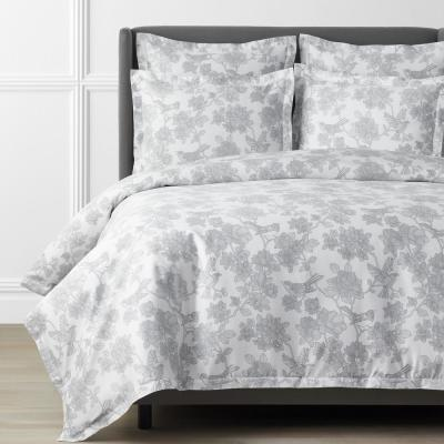 Legends Hotel Etched Floral Gray Sateen Duvet Cover