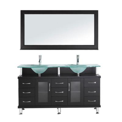 Virtu USA Vincente Rocco 59.06 in. W x 22 in. D x 33.54 in. H Espresso Vanity with Glass Vanity Top with Aqua Basin and Mirror