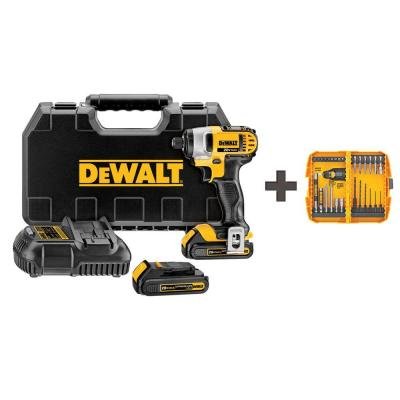 DEWALT 20-Volt MAX Lithium-Ion Cordless 1/4 in. Impact Driver with Batteries 1.5Ah, Charger and Bonus Rapid Load Set (28-Piece)