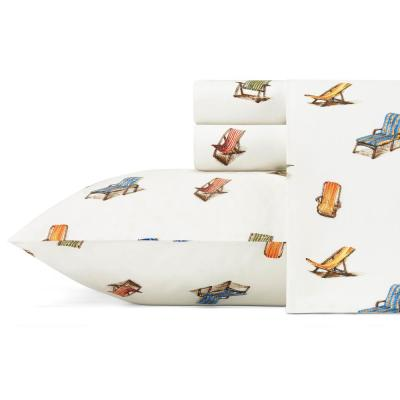 Beach Chairs Graphic 200-Thread Count Cotton Sheet Set