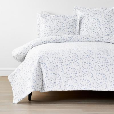 Company Cotton Ivy White Multicolored Botanical Bamboo Cotton Sateen Duvet Cover