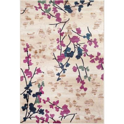 Contemporary Floral Cream 5 ft. 3 in. x 7 ft. 3