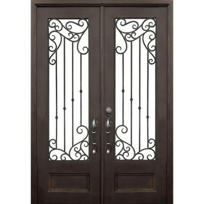 64 in. x 96 in. Lakeland Dark Bronze Right-Hand Outswing Painted Iron Prehung Front Door with Clear Glass and Hardware Product Photo