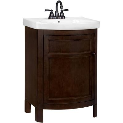 Glacier Bay Tuscan 23-3/4 in. W x 18-1/4 in D Vanity in Chocolate with Vitreous China Vanity Top in White
