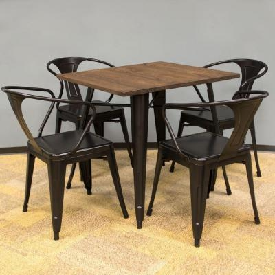 Loft Style Metal 5-Piece Dining Table and Chair Set in Glossy