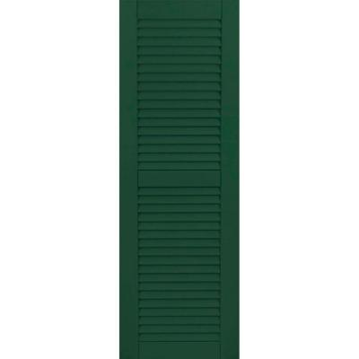 18 in. x 71 in. Exterior Composite Wood Louvered Shutters Pair Chrome Green Product Photo