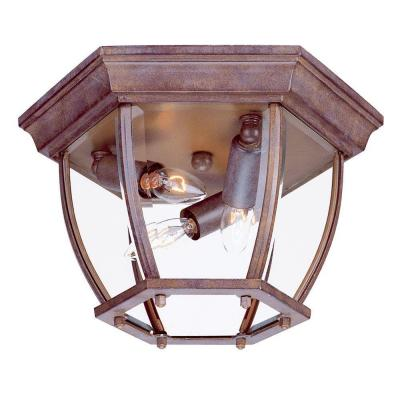 Acclaim Lighting Flushmount Collection Ceiling-Mount 3-Light Outdoor Burled Walnut Light Fixture