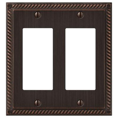 Georgian 2 Gang Decora Wall Plate - Aged Bronze