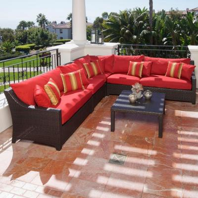 Deco 6-Piece Patio Sectional Seating Set with Cantina Red Cushions