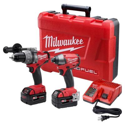 Milwaukee M18 Fuel 18-Volt Lithium-Ion Brushless Hammer Drill/Impact Driver XC Combo Kit