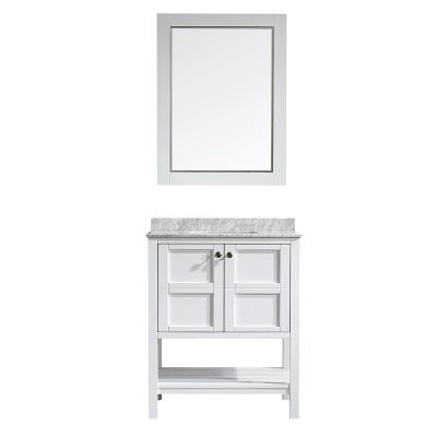 Vinnova Florence 30 in. W x 22 in. D x 35 in. H Vanity in White with Marble Vanity Top in White with Basin and Mirror