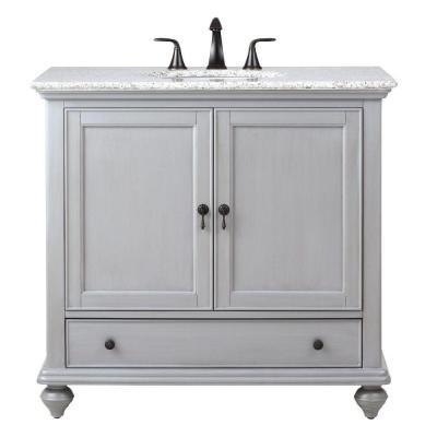 home decorators collection newport 37 in w x 215 in d single vanity in pewter with granite vanity top in grey with white basin - Home Decorators Vanity