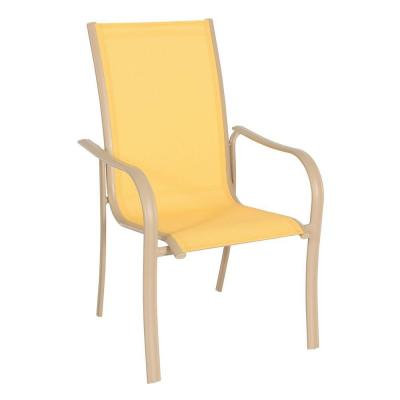 Re Sling Patio Chairs Miami Stack Yellow Patio Chair-FCA60051-YELLOW - The Home Depot