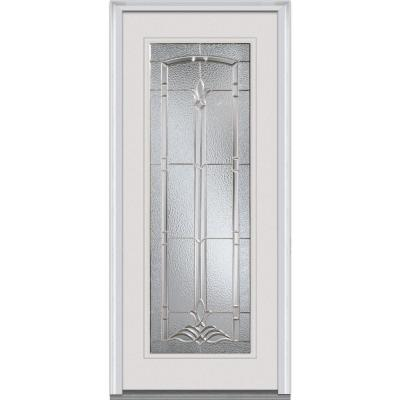 34 in. x 80 in. Bristol Decorative Glass Full Lite Primed White Majestic Steel Prehung Front Door Product Photo