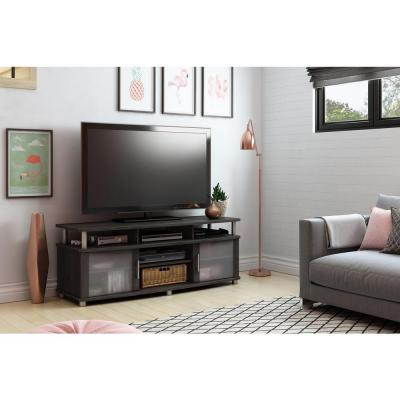 City Life 50-Disc Capacity TV Stand in Gray Oak