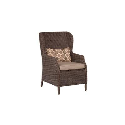 Vineyard Patio Cafe Chair in Sparrow with Empire Stonehenge Lumbar Pillow