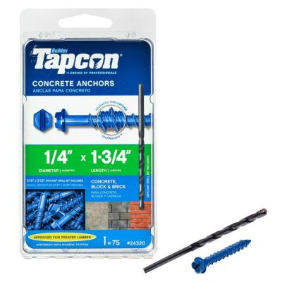 Tapcon 1/4 in. x 1-3/4 in. Blue Climaseal Hex-Head Concrete Anchors (75-Pack)