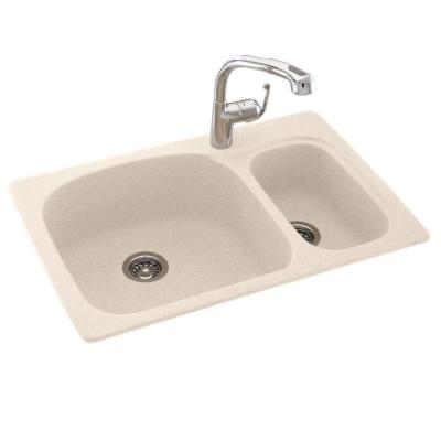Dual Mount Composite 33x22x9 in. 1-Hole Large/Small Double Bowl Kitchen Sink