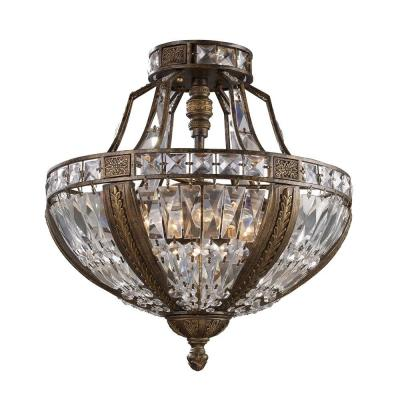 Millwood 18 in. 6-Light Antique Bronze Semi Flush Mount Product Photo