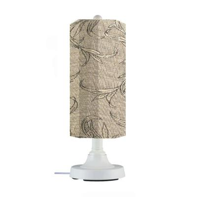 Patio Living Concepts Coronado 15 in. Outdoor White Table Lamp with Bessemer Cylinder Shade