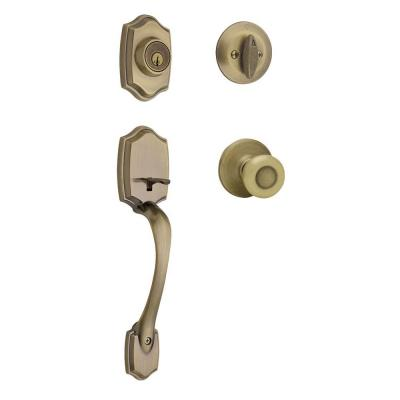 Kwikset Belleview Single Cylinder Antique Brass Handleset with Tylo Knob Featuring SmartKey