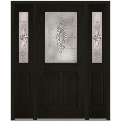 64 in. x 80 in. Heirloom Master Decorative Glass 1/2 Lite Finished Oak Fiberglass Prehung Front Door with Sidelites Product Photo