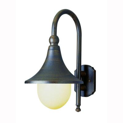 Bel Air Lighting Pier Hook 1-Light Outdoor Rust Coach Lantern with Opal Polycarbonate Shade