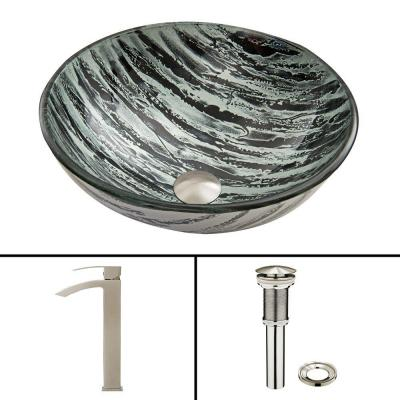 Glass Vessel Sink in Rising Moon and Duris Faucet Set in Brushed Nickel Product Photo