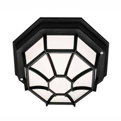 Bel Air Lighting Energy Saving 1-Light Outdoor Black Ceiling Fixture with Frosted Glass