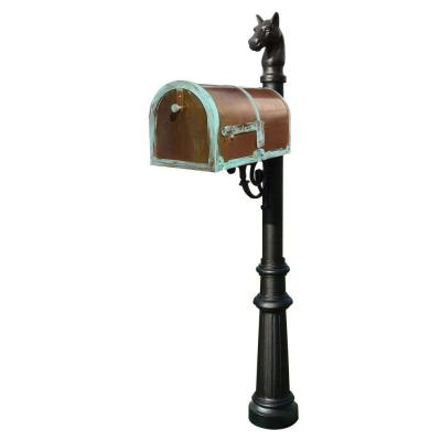 Antique Brass Patina Post Mount Non-Locking Mailbox with Decorative Lewiston Post System Product Photo