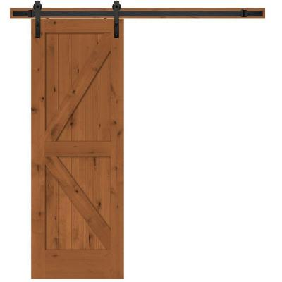 Steves sons 30 in x 84 in rustic 2 panel stained knotty alder interior barn door slab with - Barn door track hardware home depot ...