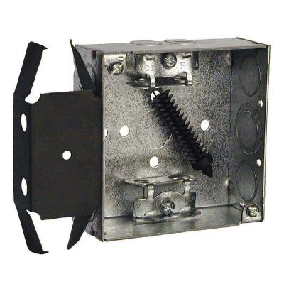 4 in. Square Welded Box, 1-1/2 in. Deep with Armored Cable/Metal Clad/Flex Clamps and BOX-LOC Bracket (25-Packs) Product Photo