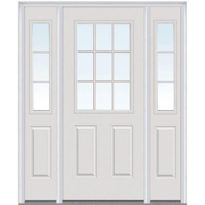 60 in. x 80 in. Classic Clear Glass GBG 1/2 Lite Painted Majestic Steel Prehung Front Door with Sidelites Product Photo
