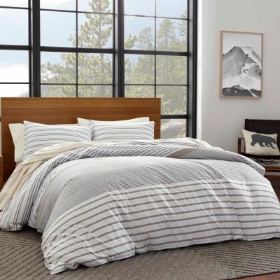 Cooper Beige Striped Duvet Cover Set