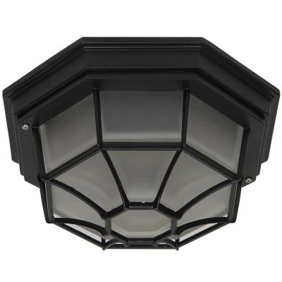 Yosemite Home Decor Serge 10.75 in. Fluorescent Oil-Rubbed Bronze Frame Exterior Flushmount with Frosted Glass