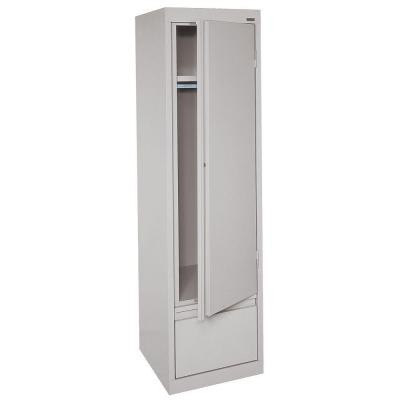 System Series 17 in. W x 64 in. H x 18 in. D Single Door Wardrobe Cabinet with File Drawer in Dove Gray Product Photo