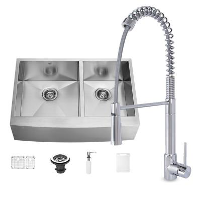 VIGO All-in-One Farmhouse Stainless Steel 36 in. 0-Hole Kitchen Sink and Laurelton Chrome Faucet Set