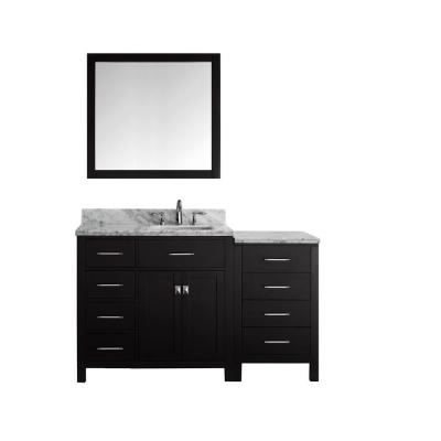 Virtu USA Caroline Parkway 57 in. W x 36 in. H Vanity with Marble Vanity Top in Carrara White with White Basin and Mirror
