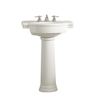 Retrospect Pedestal Combo Bathroom Sink in White Product Photo