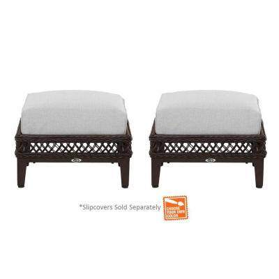 Hampton Bay Woodbury Patio Ottoman with Cushion Insert (2-Pack) (Slipcovers Sold Separately)