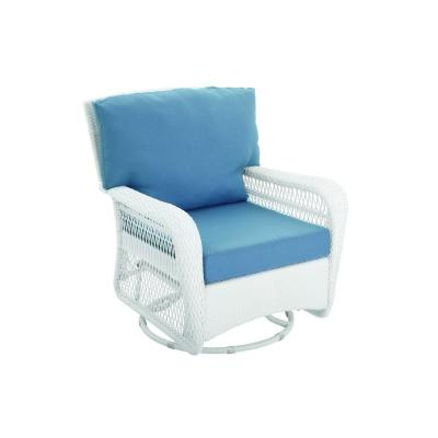 Martha Stewart Living Charlottetown White All-Weather Wicker Patio Swivel Rocker Lounge Chair with Washed Blue Cushion