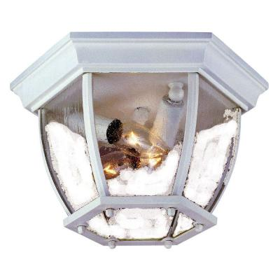 Acclaim Lighting Flushmount Collection Ceiling-Mount 3-Light Outdoor Textured White Light Fixture