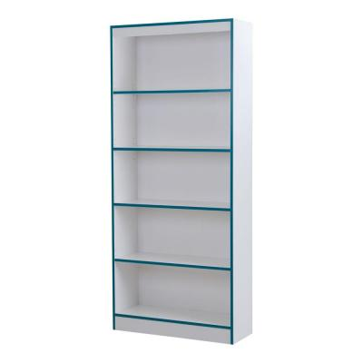 Axess 5-Shelf Bookcase in Pure White and Turquoise Product Photo