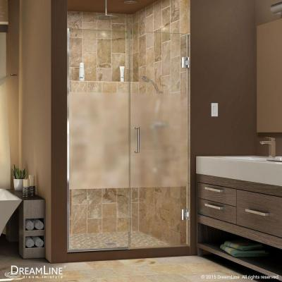 Unidoor Plus 59-1/2 to 60 in. x 72 in. Semi-Framed Hinged Shower Door with Half Frosted Glass in Chrome Product Photo
