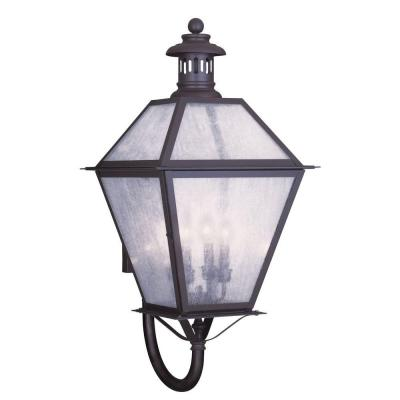 Filament Design 4-Light 30 in. Bronze Finish Seeded Glass Outdoor Wall Lantern