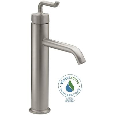 KOHLER Purist Tall Single Hole Single Handle Bathroom Faucet with Smile Design Handle in Vibrant Brushed Nickel