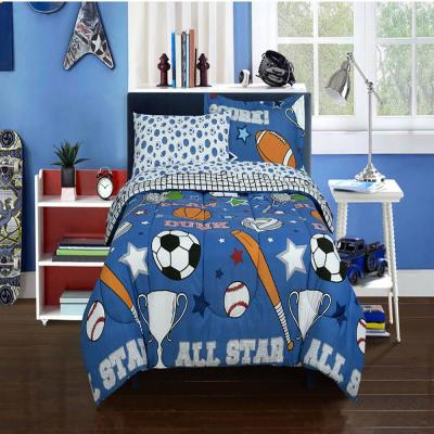 Game Day Blue Bed in a Bag with Reversible Comforter