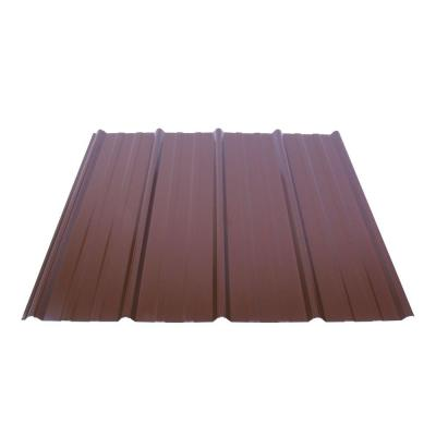 12 ft. Shelterguard Exposed Fastener Galvanized Steel Roof Panel in Cocoa Brown Product Photo